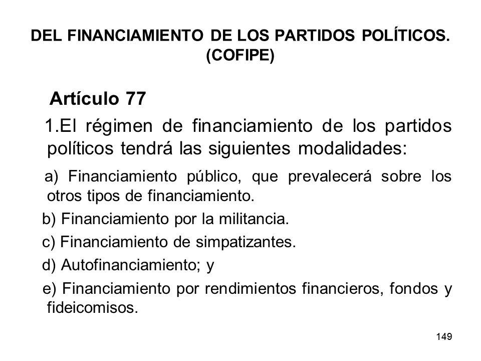 149 DEL FINANCIAMIENTO DE LOS PARTIDOS POLÍTICOS.