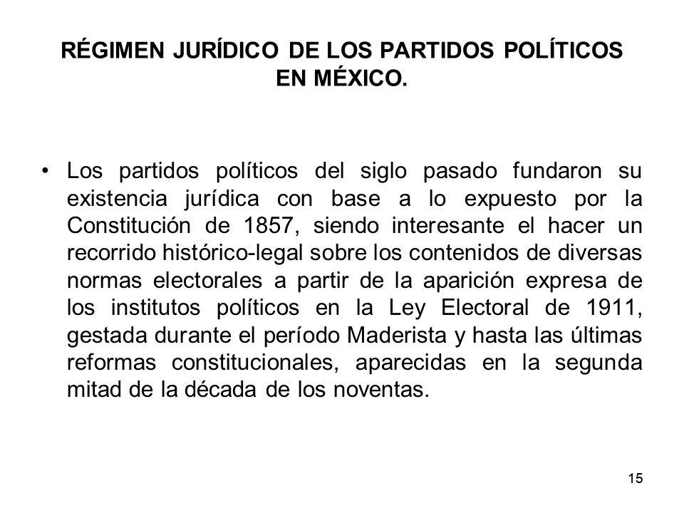 15 RÉGIMEN JURÍDICO DE LOS PARTIDOS POLÍTICOS EN MÉXICO.