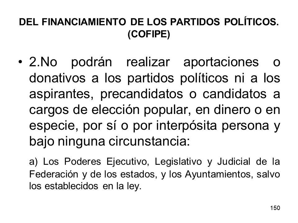 150 DEL FINANCIAMIENTO DE LOS PARTIDOS POLÍTICOS.