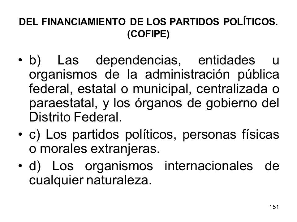 151 DEL FINANCIAMIENTO DE LOS PARTIDOS POLÍTICOS.
