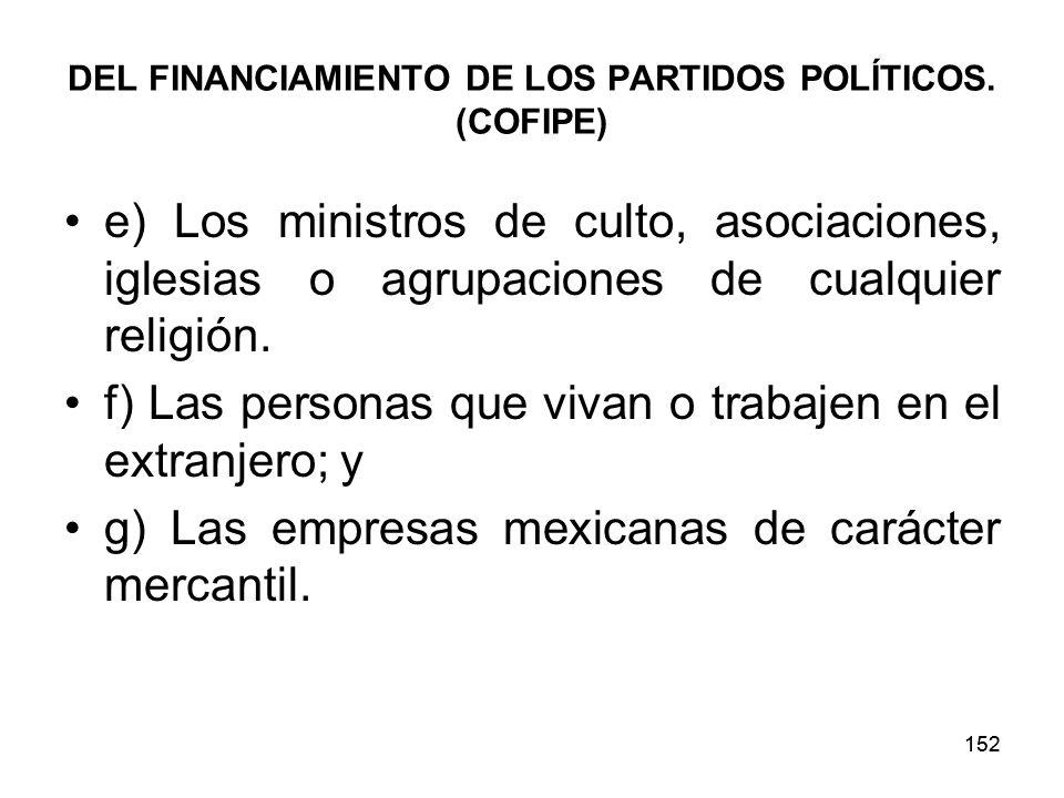 152 DEL FINANCIAMIENTO DE LOS PARTIDOS POLÍTICOS.