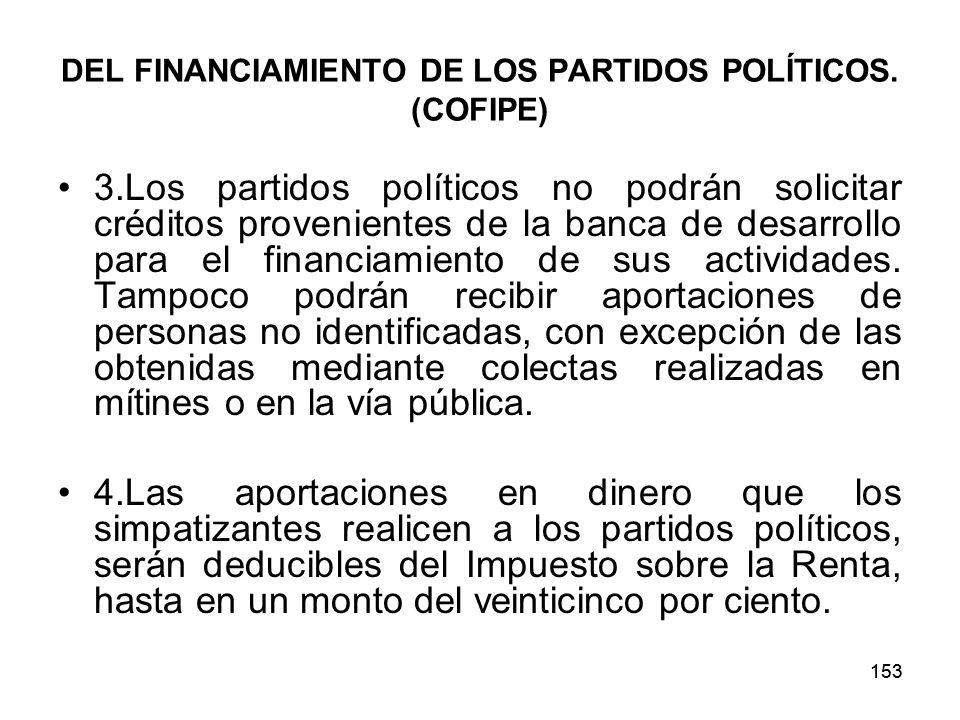 153 DEL FINANCIAMIENTO DE LOS PARTIDOS POLÍTICOS.
