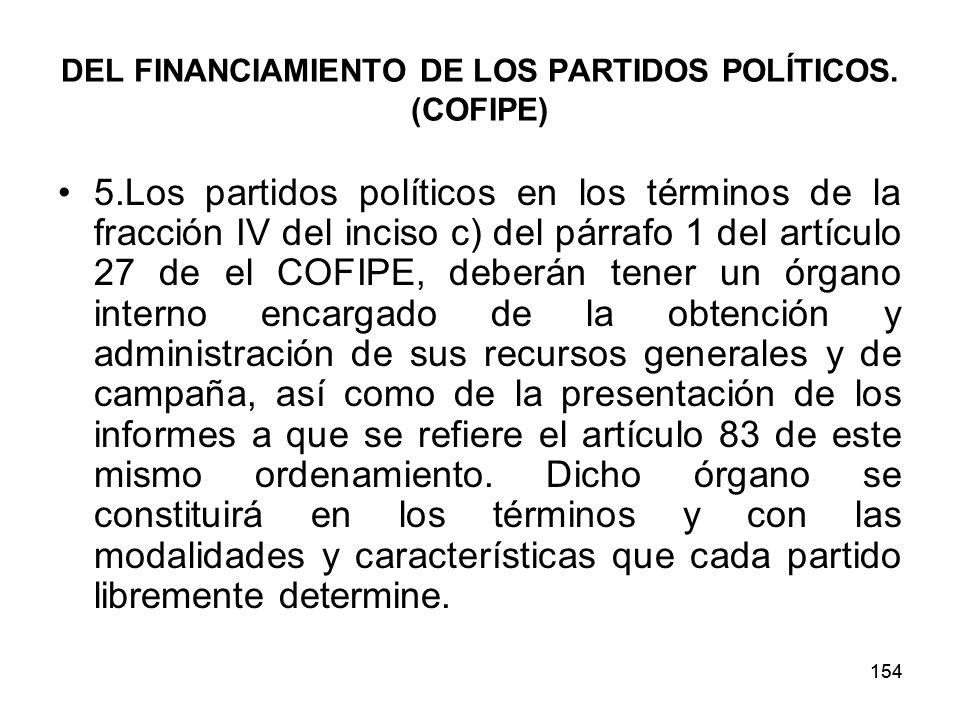 154 DEL FINANCIAMIENTO DE LOS PARTIDOS POLÍTICOS.