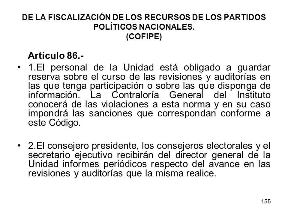 155 DE LA FISCALIZACIÓN DE LOS RECURSOS DE LOS PARTIDOS POLÍTICOS NACIONALES.