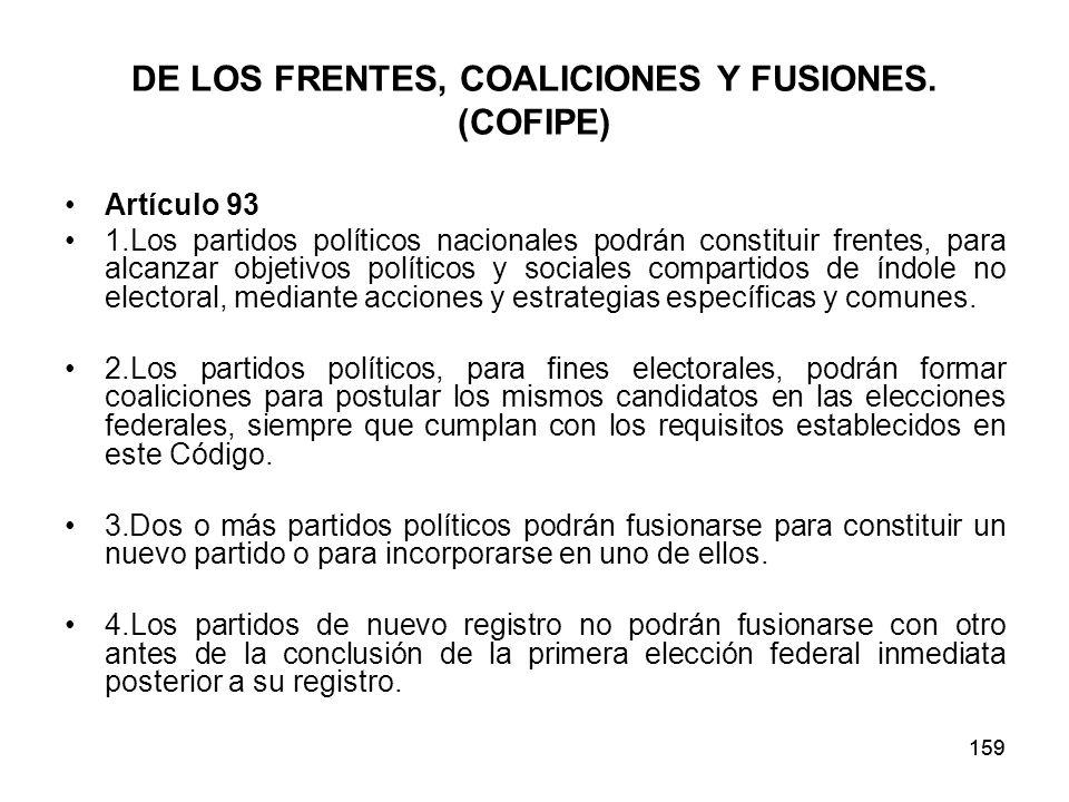 159 DE LOS FRENTES, COALICIONES Y FUSIONES.