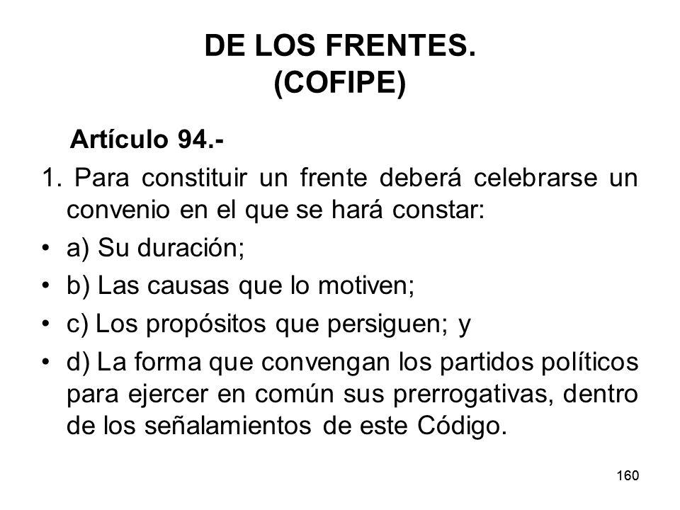 160 DE LOS FRENTES.(COFIPE) Artículo 94.- 1.
