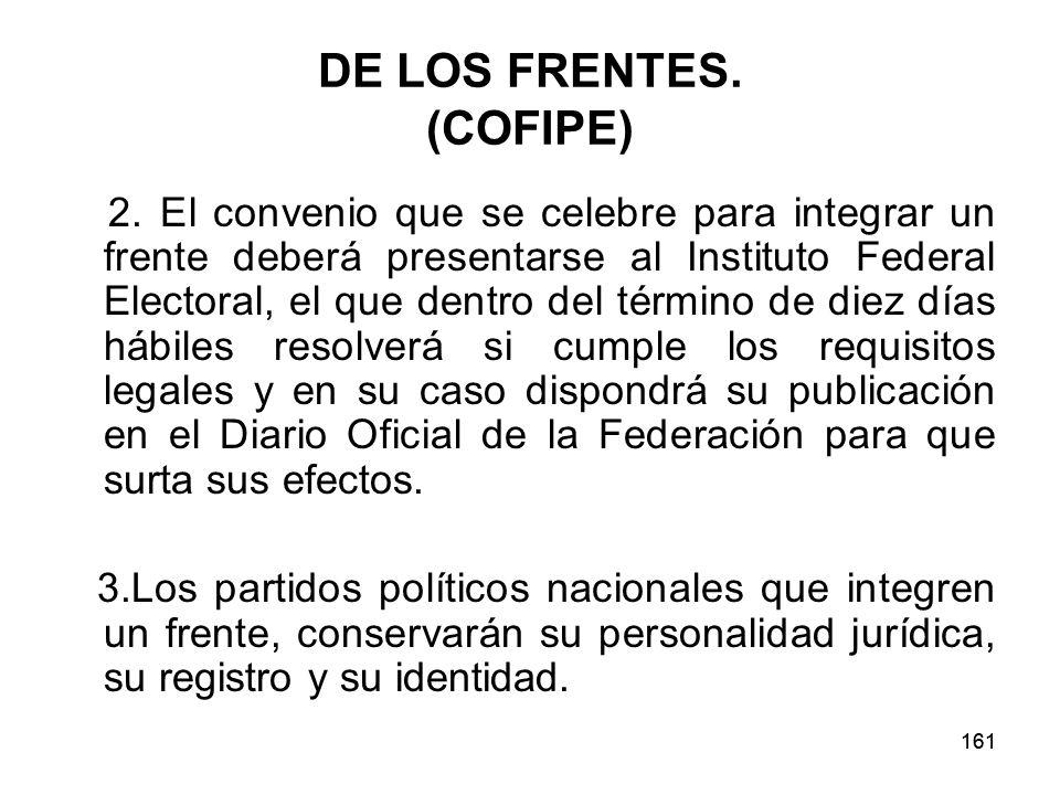 161 DE LOS FRENTES.(COFIPE) 2.