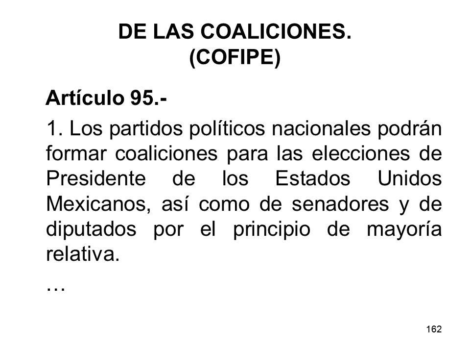162 DE LAS COALICIONES.(COFIPE) Artículo 95.- 1.