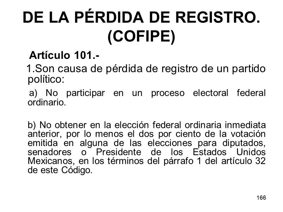 166 DE LA PÉRDIDA DE REGISTRO.