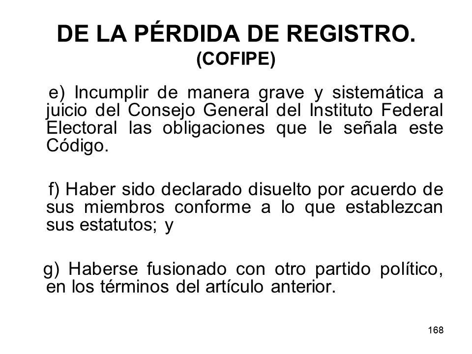 168 DE LA PÉRDIDA DE REGISTRO.