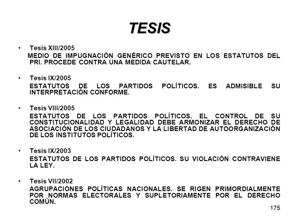175 TESIS Tesis XIII/2005 MEDIO DE IMPUGNACIÓN GENÉRICO PREVISTO EN LOS ESTATUTOS DEL PRI.