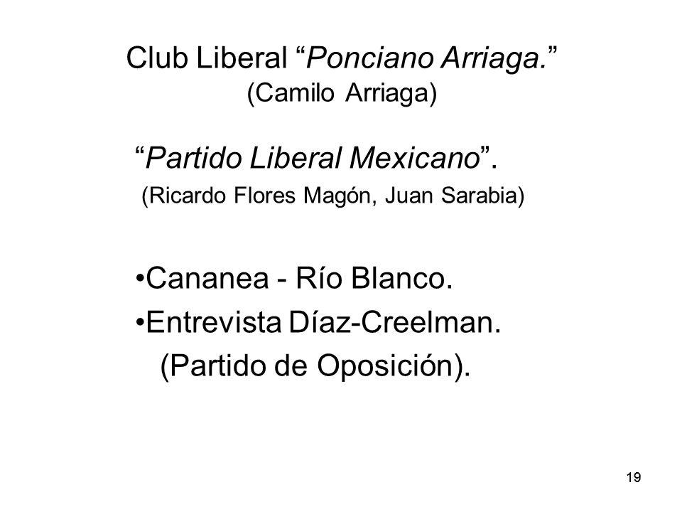 19 Club Liberal Ponciano Arriaga.(Camilo Arriaga) Partido Liberal Mexicano.