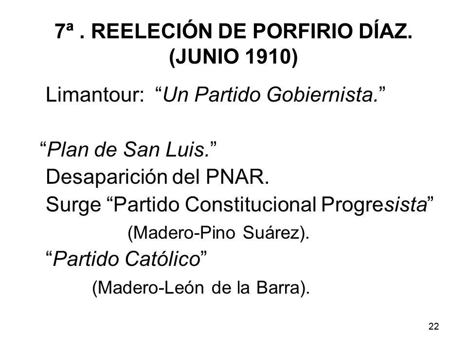 22 7ª.REELECIÓN DE PORFIRIO DÍAZ. (JUNIO 1910) Limantour: Un Partido Gobiernista.