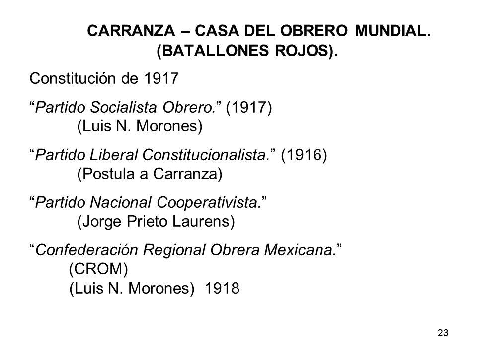 23 CARRANZA – CASA DEL OBRERO MUNDIAL.(BATALLONES ROJOS).