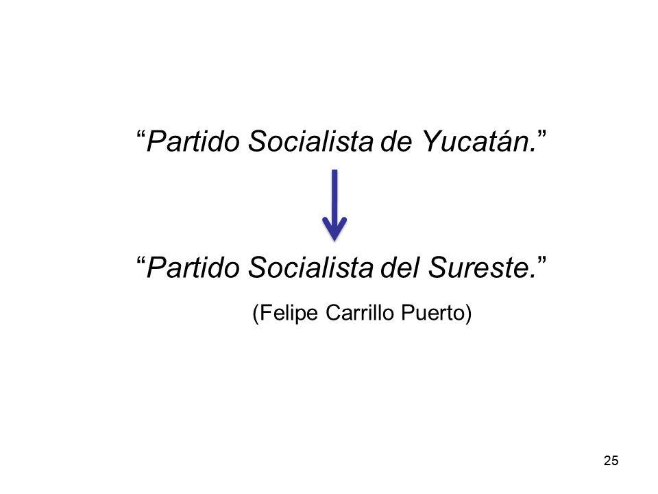 25 Partido Socialista de Yucatán. Partido Socialista del Sureste. (Felipe Carrillo Puerto)