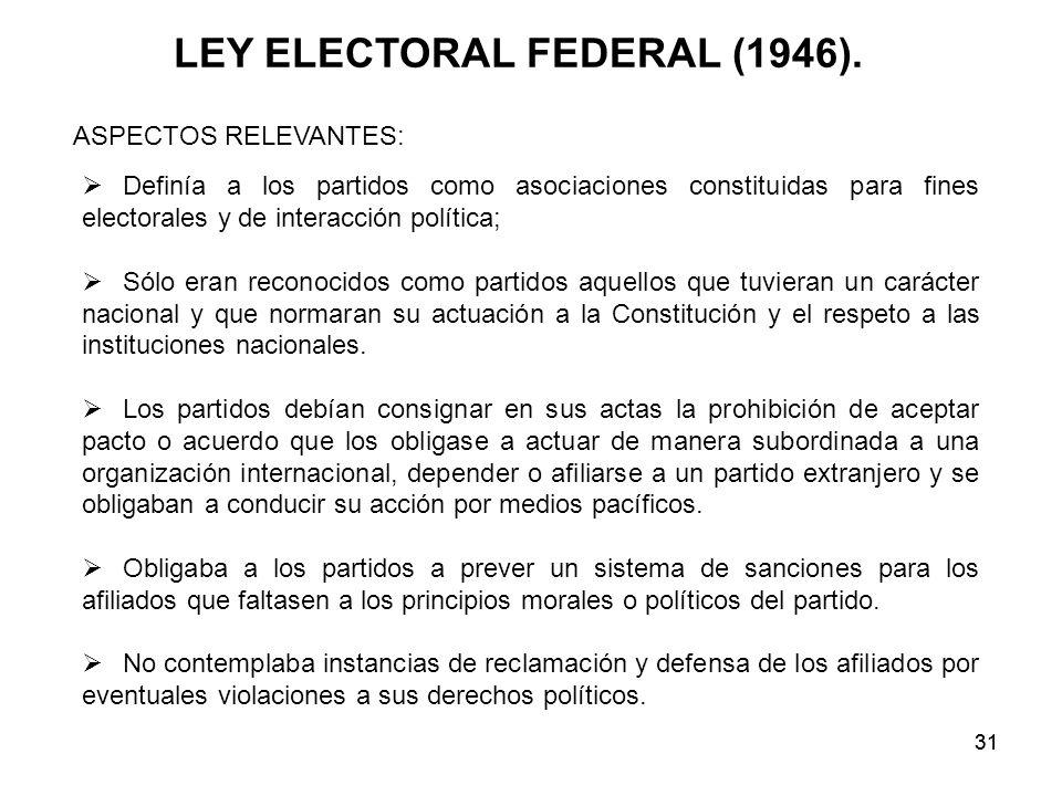 31 Definía a los partidos como asociaciones constituidas para fines electorales y de interacción política; Sólo eran reconocidos como partidos aquellos que tuvieran un carácter nacional y que normaran su actuación a la Constitución y el respeto a las instituciones nacionales.