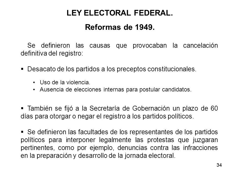 34 LEY ELECTORAL FEDERAL.Reformas de 1949.