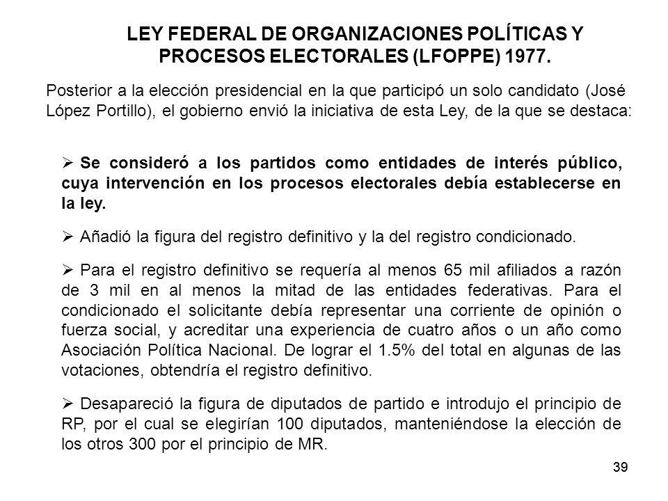 39 LEY FEDERAL DE ORGANIZACIONES POLÍTICAS Y PROCESOS ELECTORALES (LFOPPE) 1977.