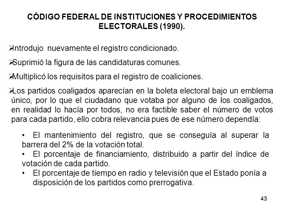 43 CÓDIGO FEDERAL DE INSTITUCIONES Y PROCEDIMIENTOS ELECTORALES (1990).