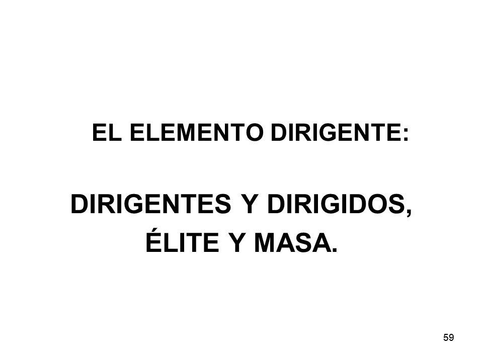 59 EL ELEMENTO DIRIGENTE: DIRIGENTES Y DIRIGIDOS, ÉLITE Y MASA.