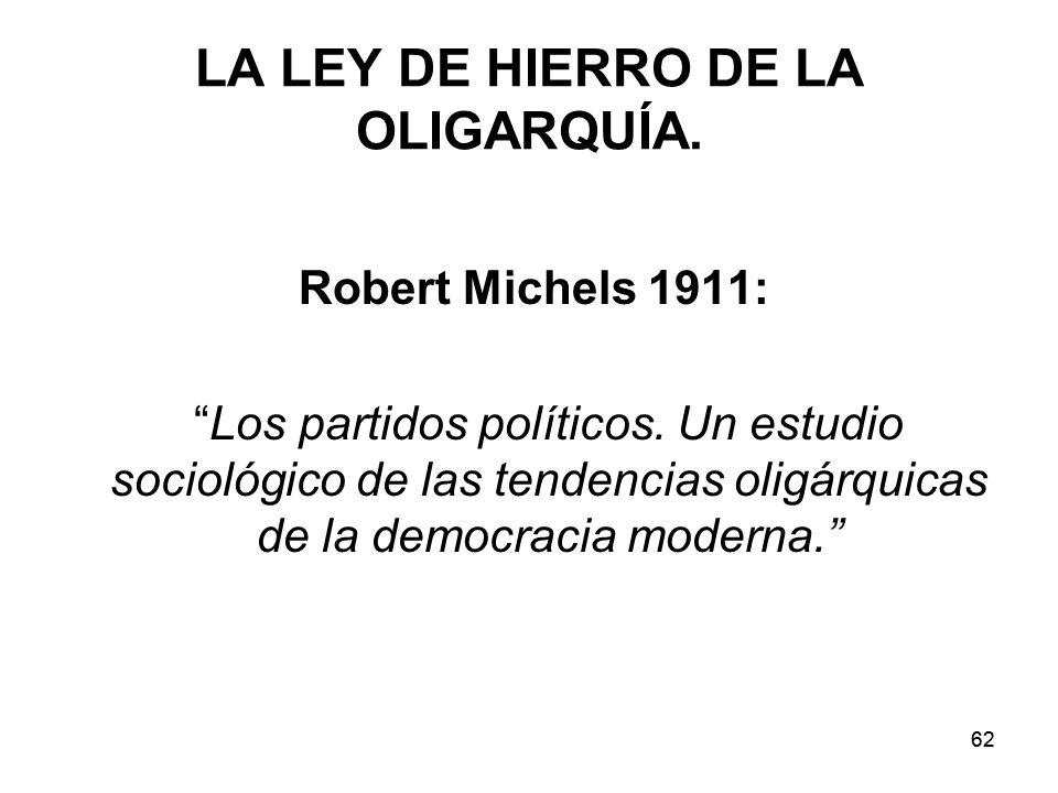 62 LA LEY DE HIERRO DE LA OLIGARQUÍA.Robert Michels 1911: Los partidos políticos.