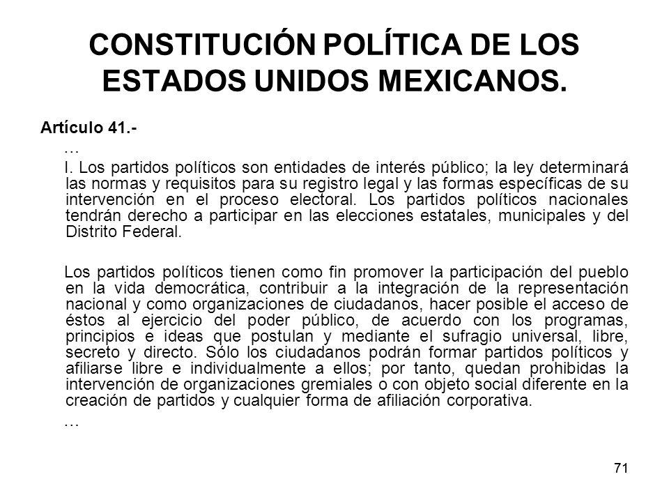 71 CONSTITUCIÓN POLÍTICA DE LOS ESTADOS UNIDOS MEXICANOS.