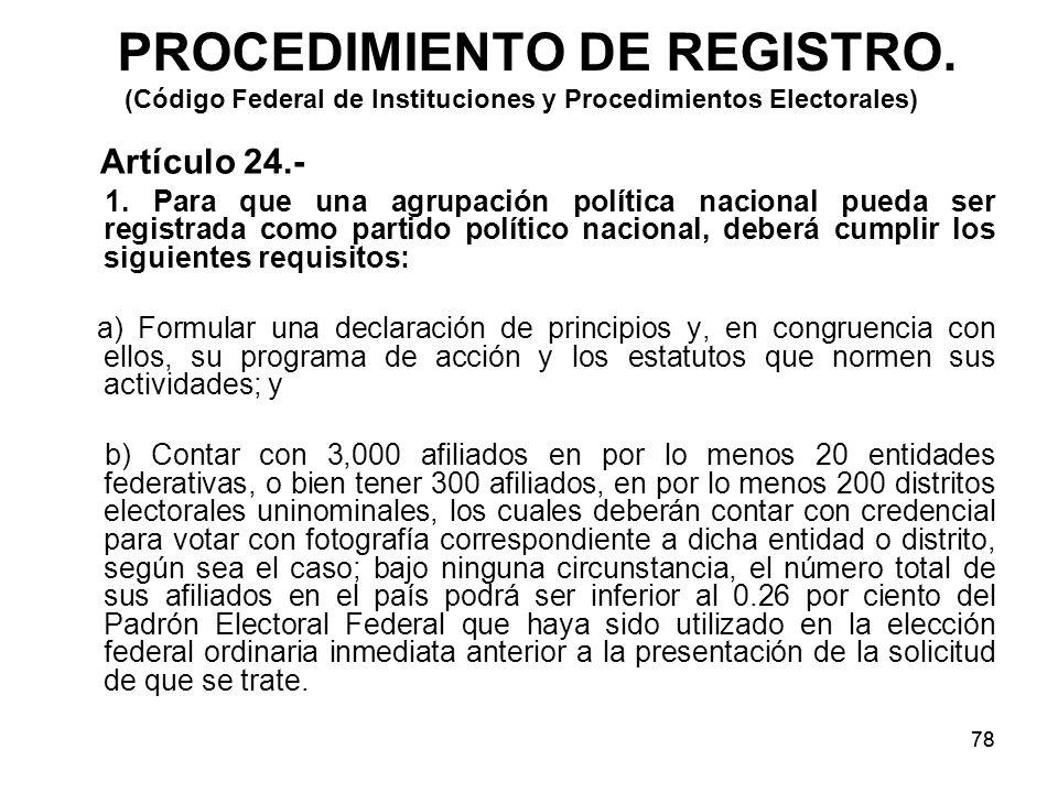 78 PROCEDIMIENTO DE REGISTRO.