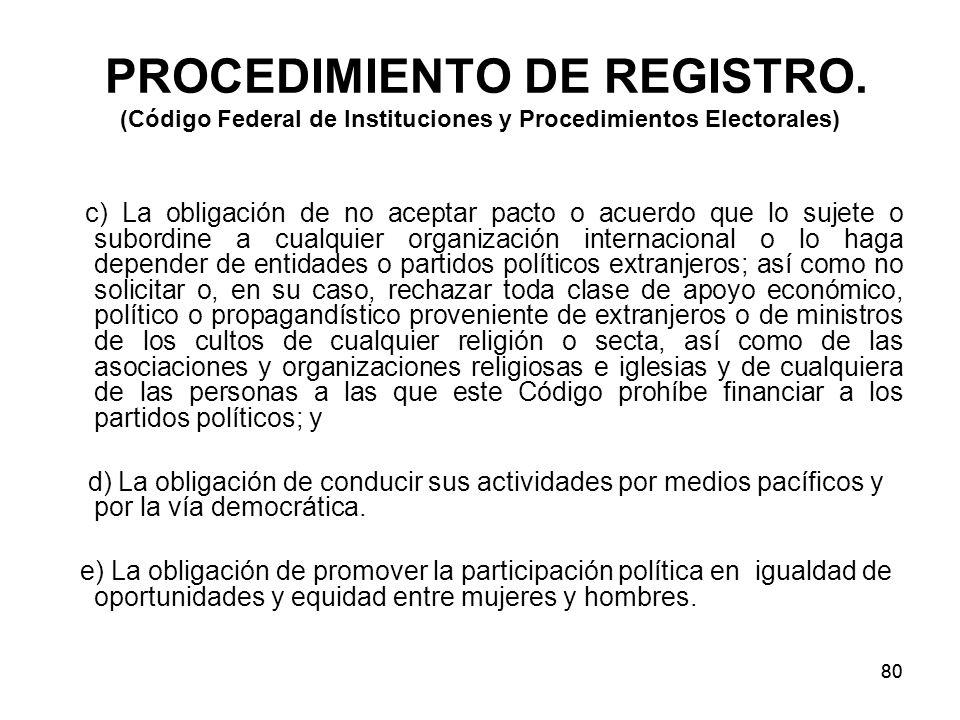 80 PROCEDIMIENTO DE REGISTRO.