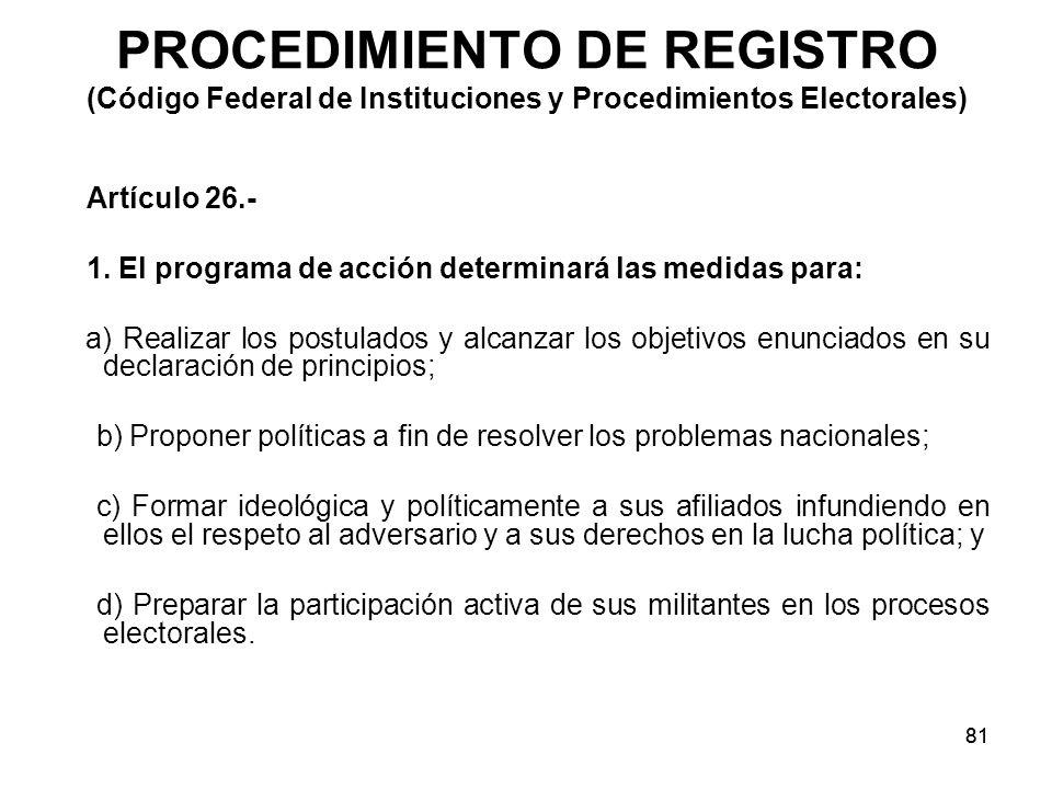 81 PROCEDIMIENTO DE REGISTRO (Código Federal de Instituciones y Procedimientos Electorales) Artículo 26.- 1.