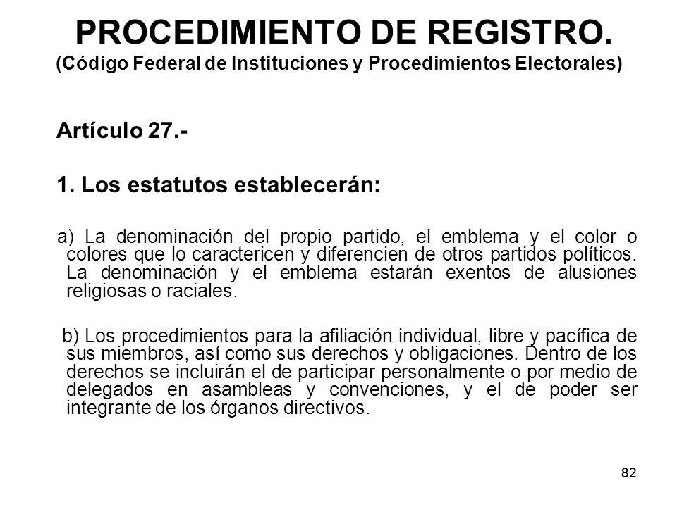 82 PROCEDIMIENTO DE REGISTRO.