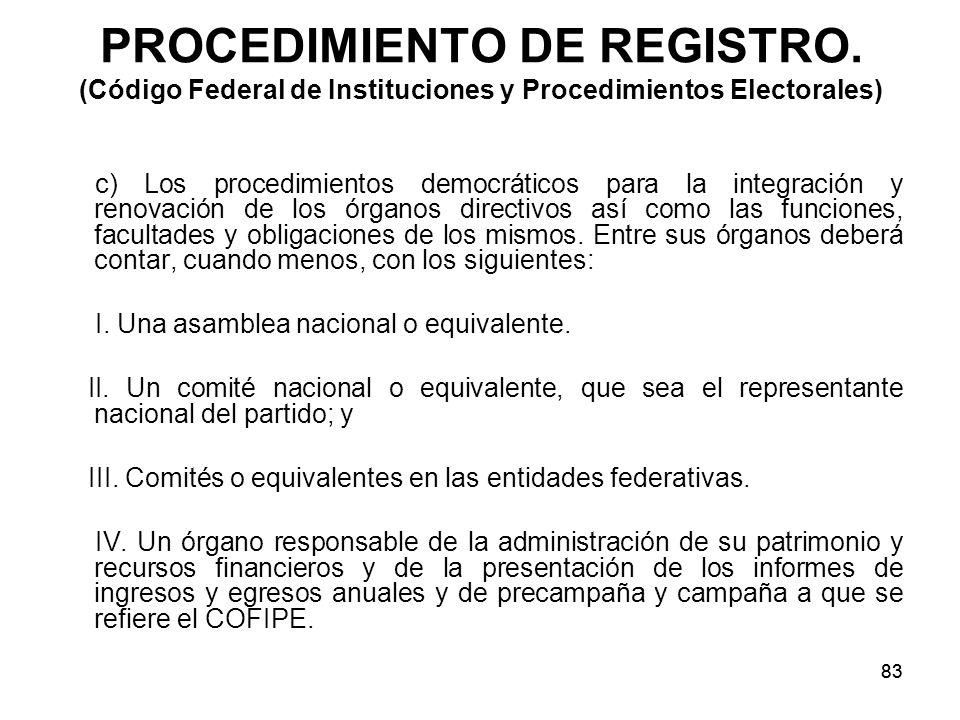 83 PROCEDIMIENTO DE REGISTRO.