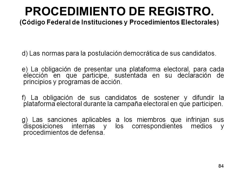 84 PROCEDIMIENTO DE REGISTRO.