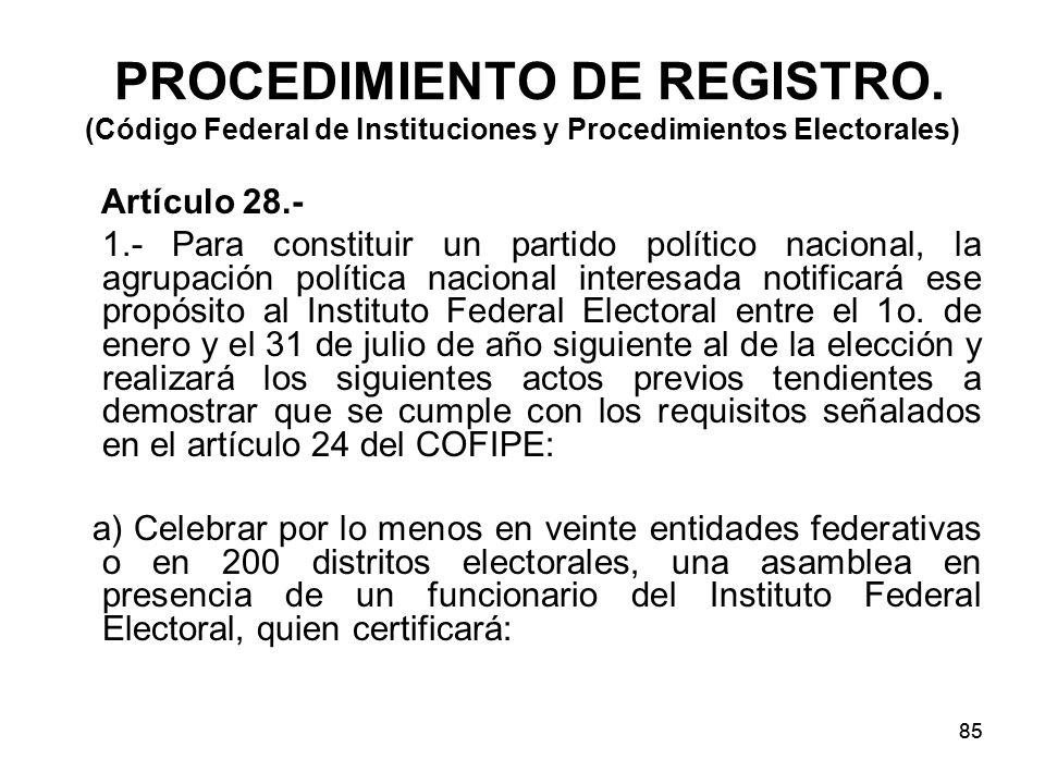 85 PROCEDIMIENTO DE REGISTRO.