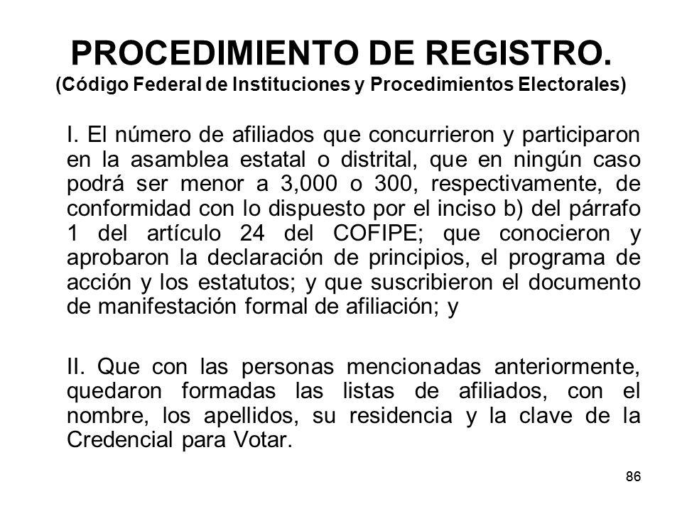 86 PROCEDIMIENTO DE REGISTRO.(Código Federal de Instituciones y Procedimientos Electorales) I.