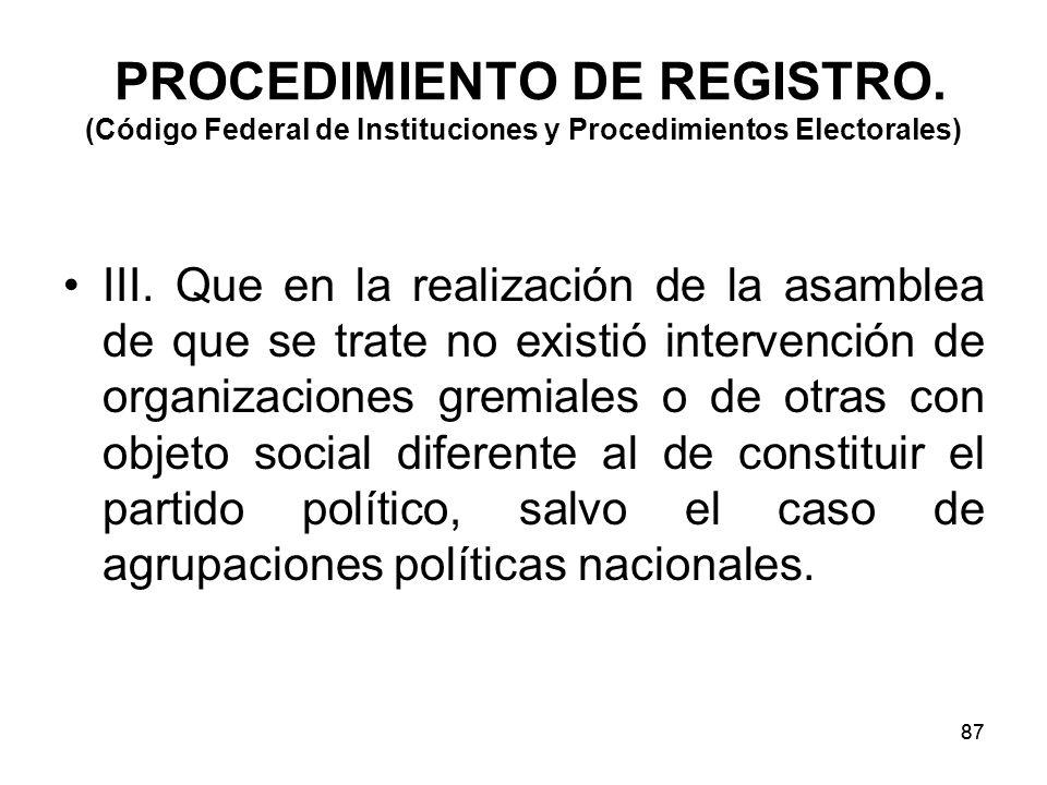 87 PROCEDIMIENTO DE REGISTRO.(Código Federal de Instituciones y Procedimientos Electorales) III.