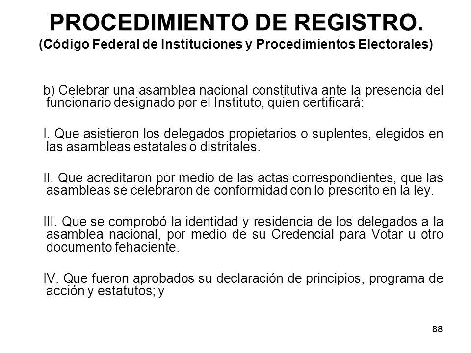 88 PROCEDIMIENTO DE REGISTRO.