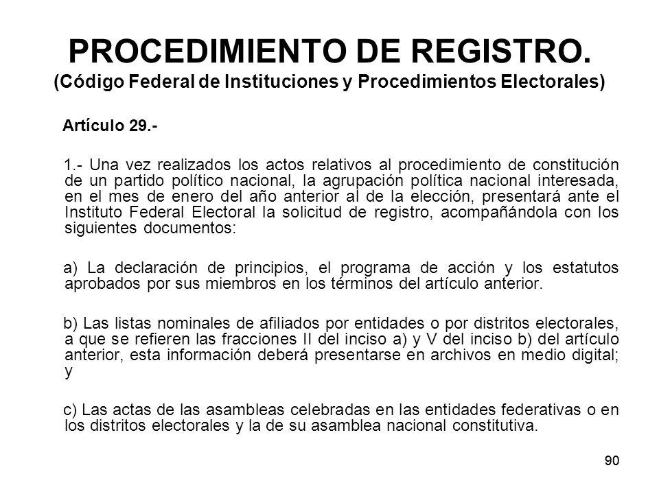 90 PROCEDIMIENTO DE REGISTRO.