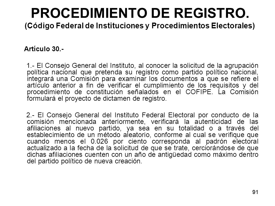 91 PROCEDIMIENTO DE REGISTRO.