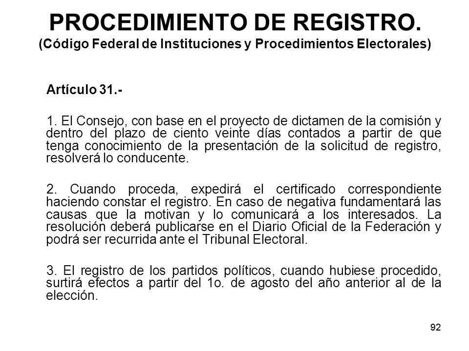 92 PROCEDIMIENTO DE REGISTRO.