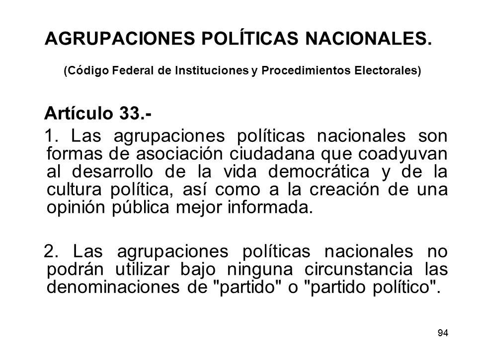 94 AGRUPACIONES POLÍTICAS NACIONALES.