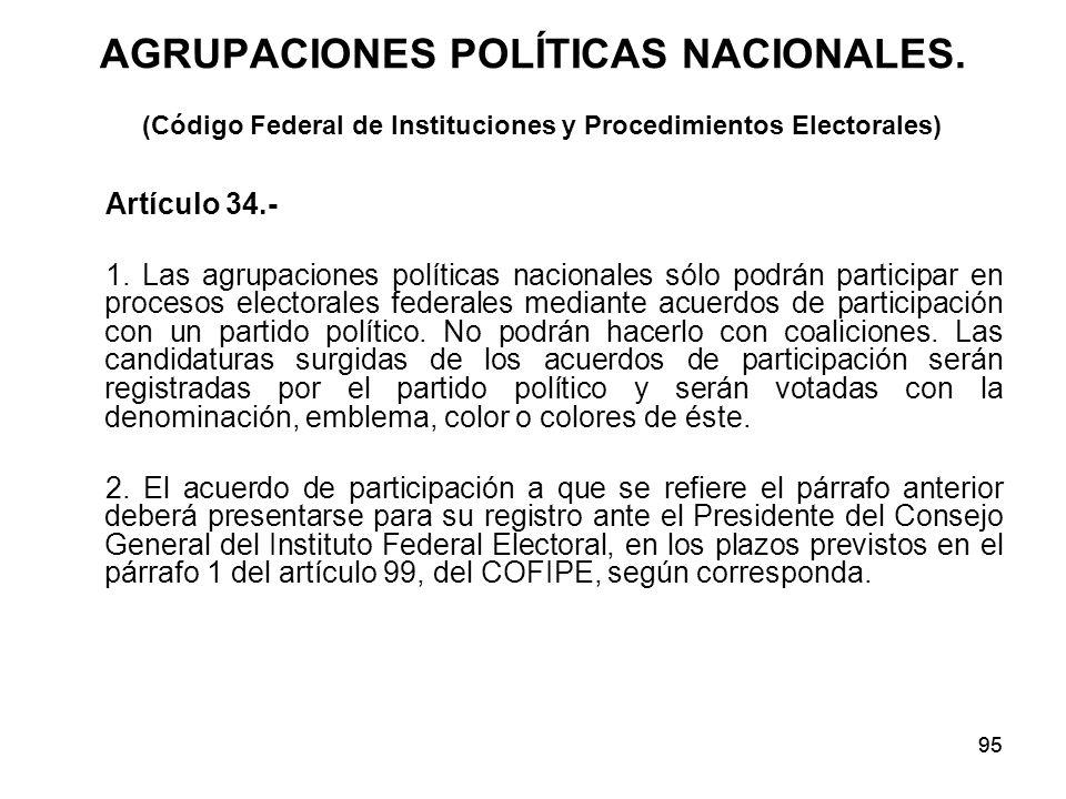 95 AGRUPACIONES POLÍTICAS NACIONALES.