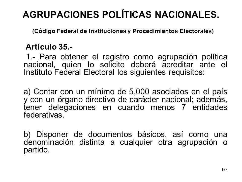 97 AGRUPACIONES POLÍTICAS NACIONALES.
