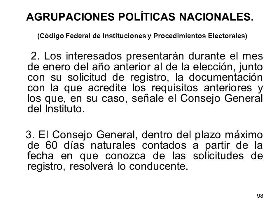 98 AGRUPACIONES POLÍTICAS NACIONALES.