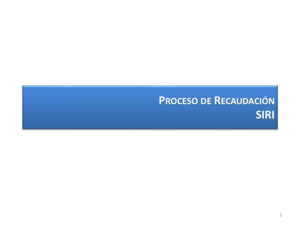 P ROCESO DE R ECAUDACIÓN SIRI 1