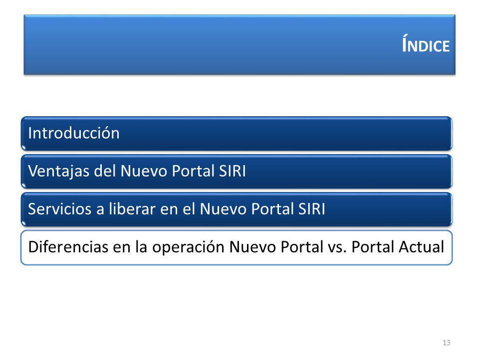 Í NDICE 13 IntroducciónVentajas del Nuevo Portal SIRIServicios a liberar en el Nuevo Portal SIRIDiferencias en la operación Nuevo Portal vs.
