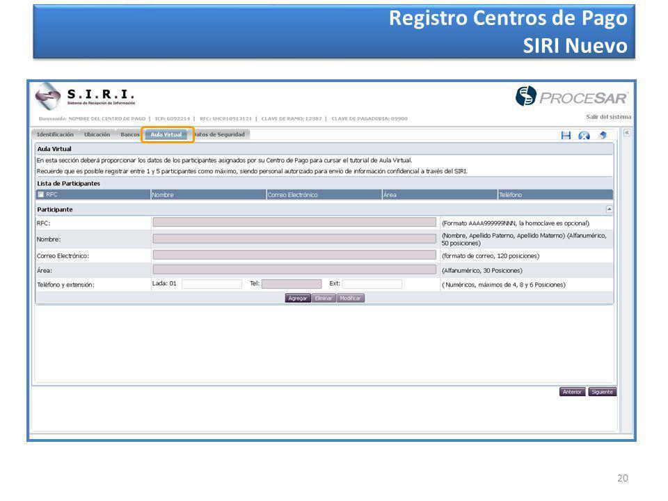 20 Registro Centros de Pago SIRI Nuevo
