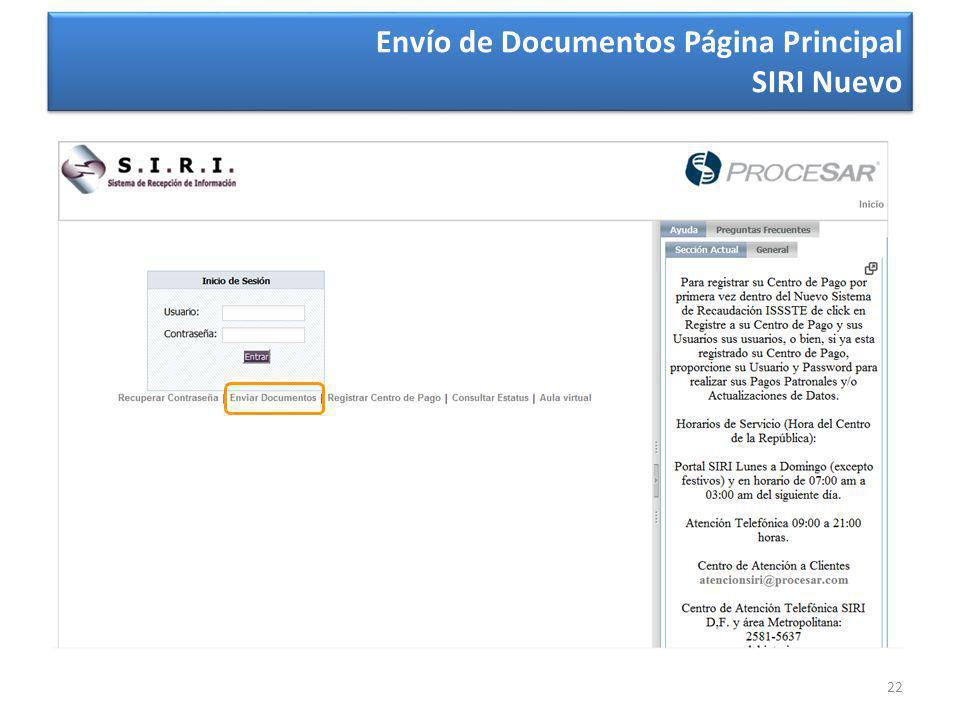 22 Envío de Documentos Página Principal SIRI Nuevo Envío de Documentos Página Principal SIRI Nuevo