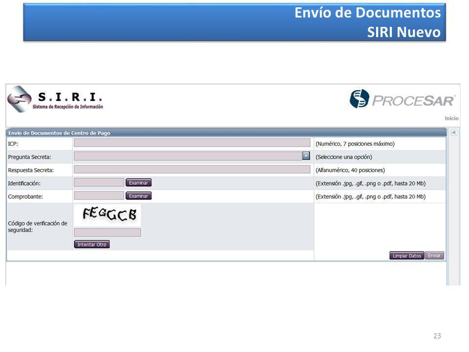 23 Envío de Documentos SIRI Nuevo Envío de Documentos SIRI Nuevo