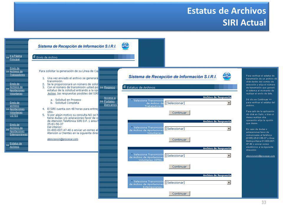 33 Estatus de Archivos SIRI Actual
