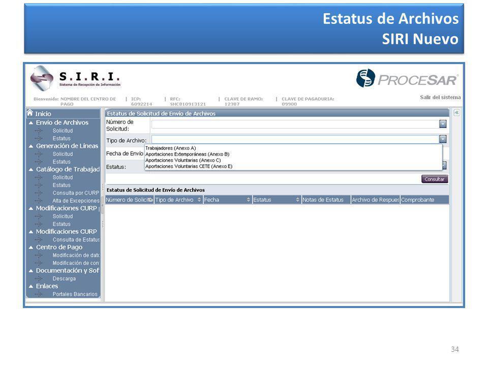 34 Estatus de Archivos SIRI Nuevo